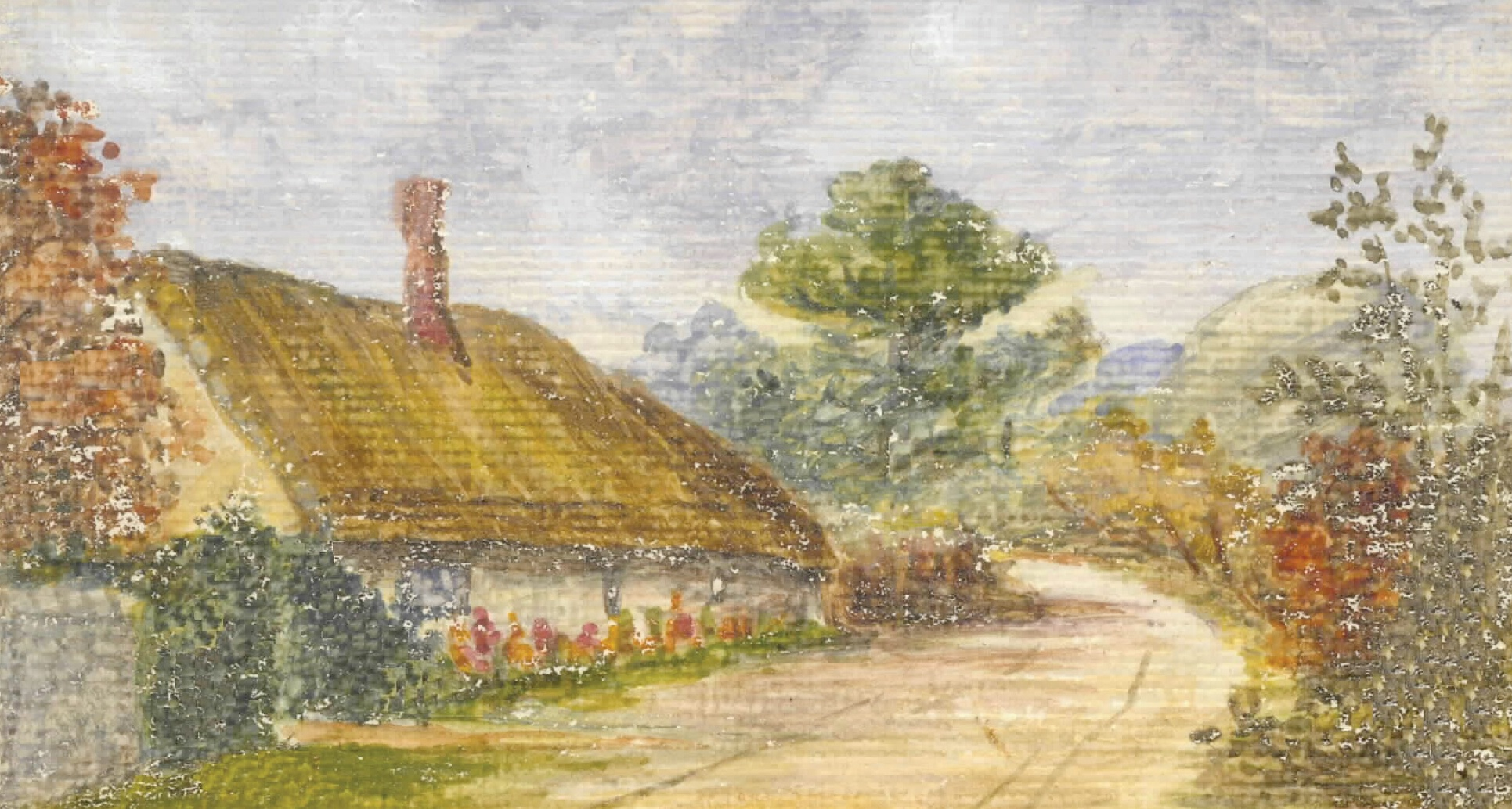 Binsted poorhouse painted by Charlotte Read